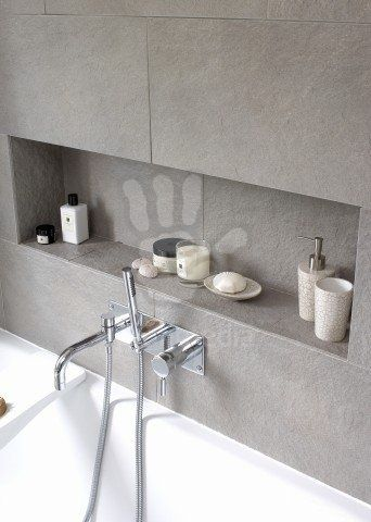 Recessed Shelving Above Bathtub In Modern Bathroom