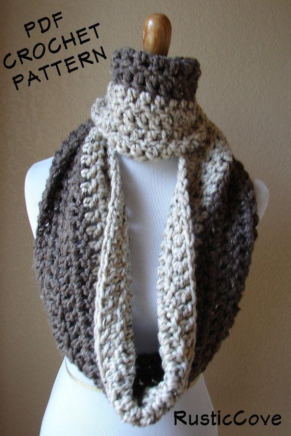 Crochet Patterns Neck Scarves : CROCHET PATTERN, Download PDF, Two Tone, cowl scarf neck warmer