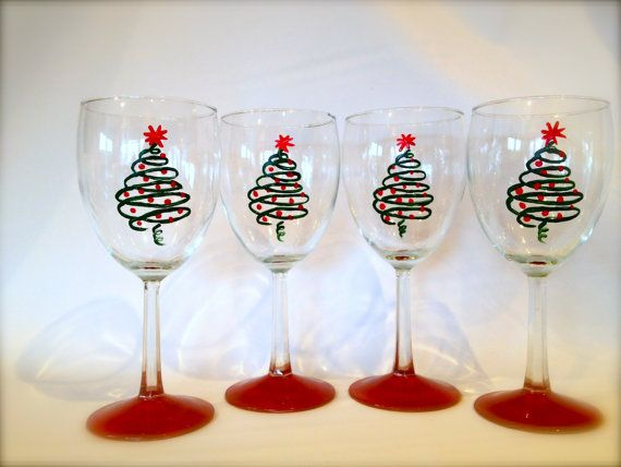 Christmas wine glasses hand painted on etsy for Holiday stemware