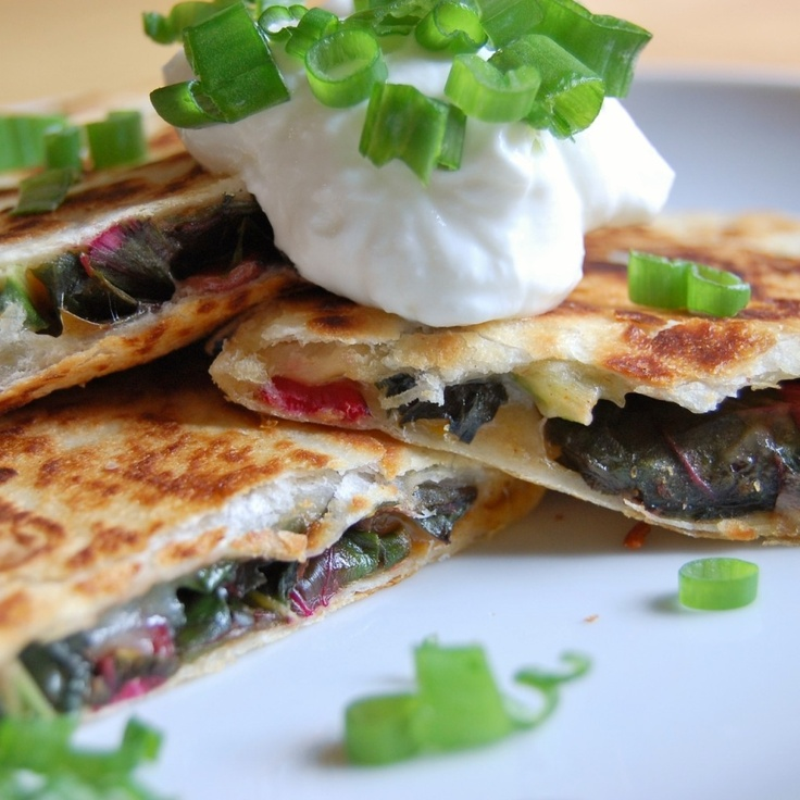 ... Tutorial (Quesadilla 101): Swiss Chard, Spring Onions, and Peppers