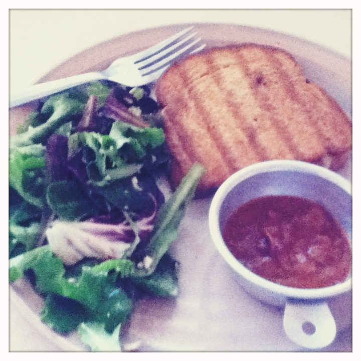 panini with a tomato amp herb bisque amp a balsamic vinaigrette amp ...