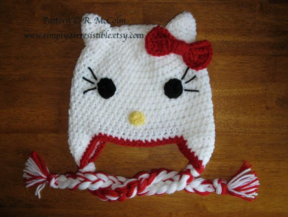 Free Hello Kitty Earflap Hat Crochet Pattern Traitoro For