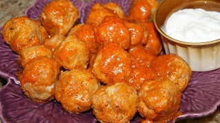 Buffalo Chicken Style Meatballs - Made with Ground Turkey