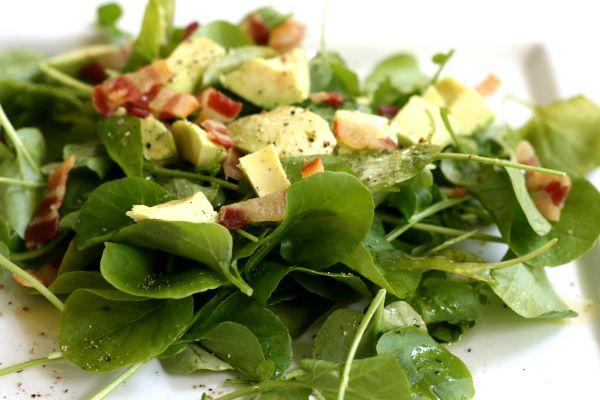 Watercress, Avocado, and Bacon Salad | Food Inspiration | Pinterest