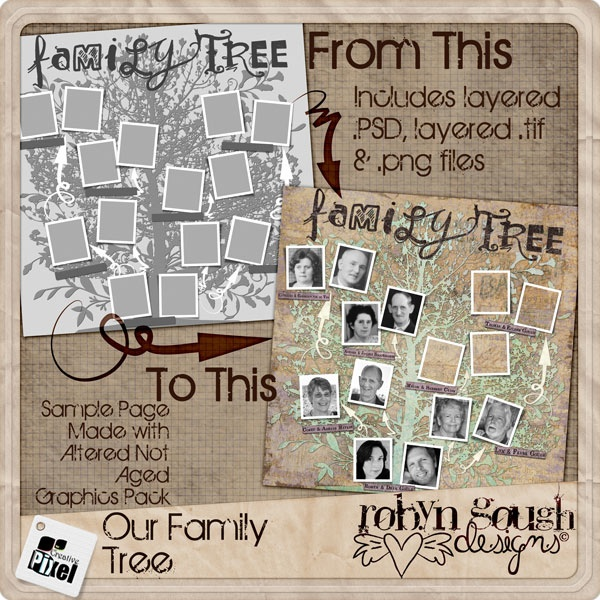 Our Family Tree Layered Template by Robyn Gough on Etsy, digiscrap ...