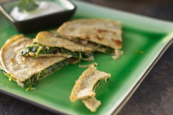 Smoked Goat Cheddar Quesadillas with Green Garlic Crema (Gluten Free ...