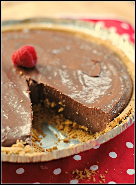 Chocolate Raspberry pie using Tofu, I may have to try this [: