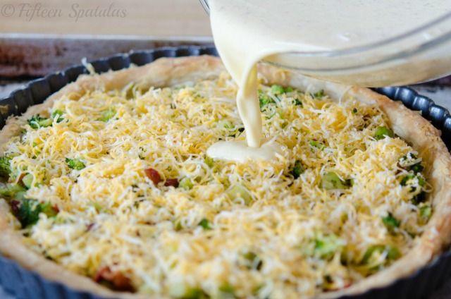 Cheesy Broccoli Bacon Quiche - Savory Simple