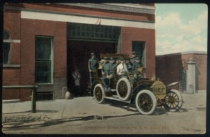 """Underwriters Salvage Corps No. 3, St. Louis, MO."" (Fire-fighters on a fire truck). (1915)"