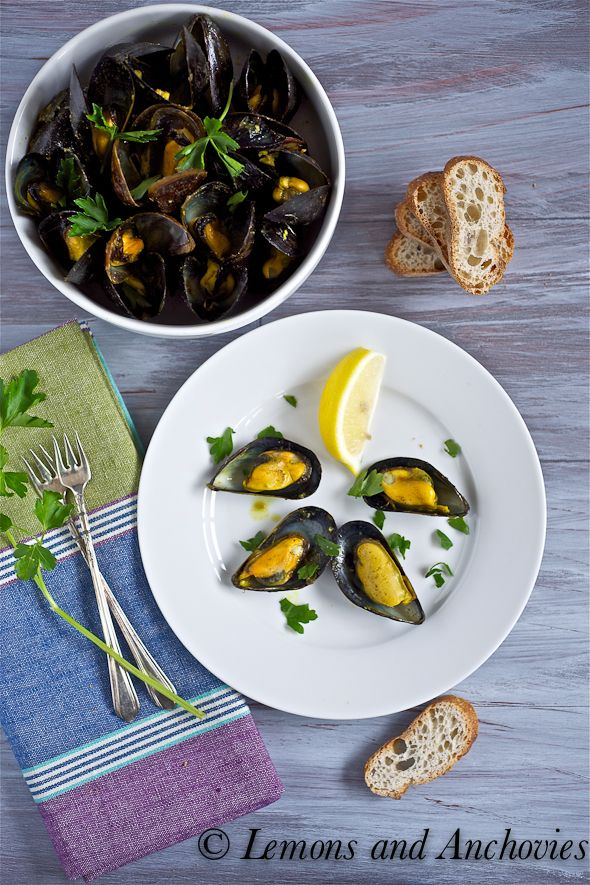 Coconut Curry Mussels - mouthwatering! via @Jean | Lemons and ...