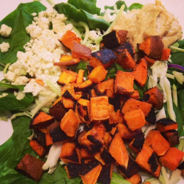 Roasted Sweet Potato, Hummus and Feta Salad