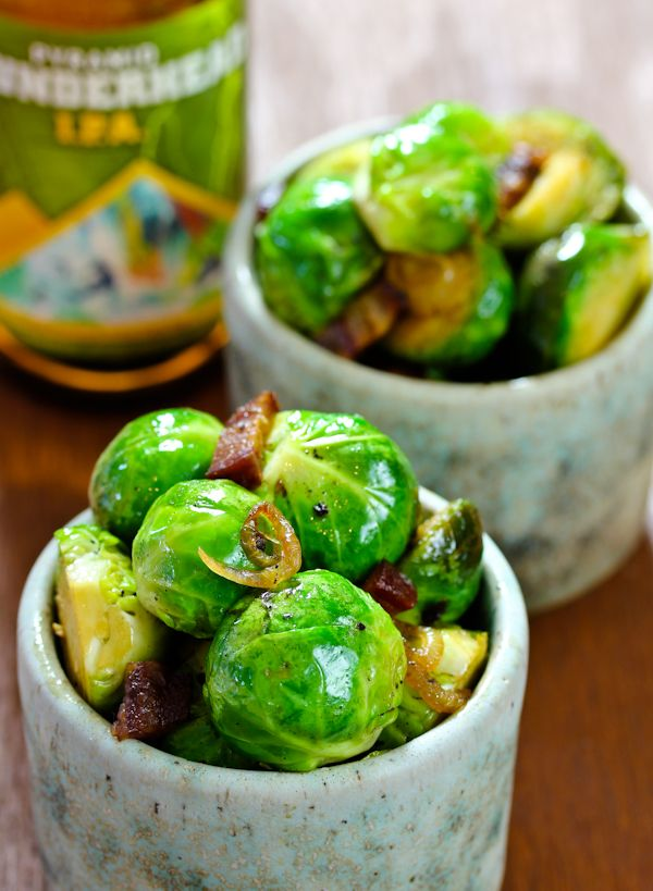 Roasted Brussel Sprouts with bacon and beer ... perhaps with Two Hearted?