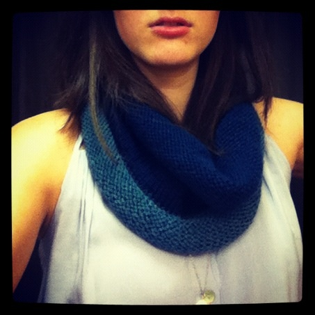 midnight blue rolled cowl