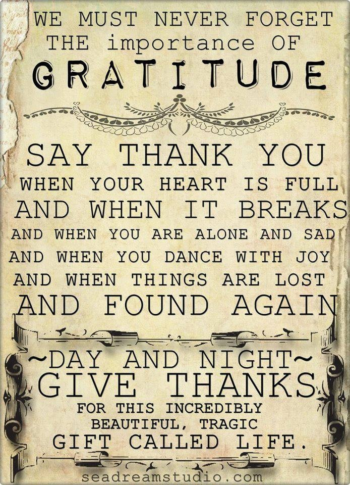 Be grateful for what we DO have and the people in our lives who love and care for us.    May God Bless and comfort us all during difficult times.  Show compassion for those in need and suffering.  So many souls suffering alone and in darkness... Be there for them.  Be a friend. Let us be thankful for the things God has provided us with.  Amen.