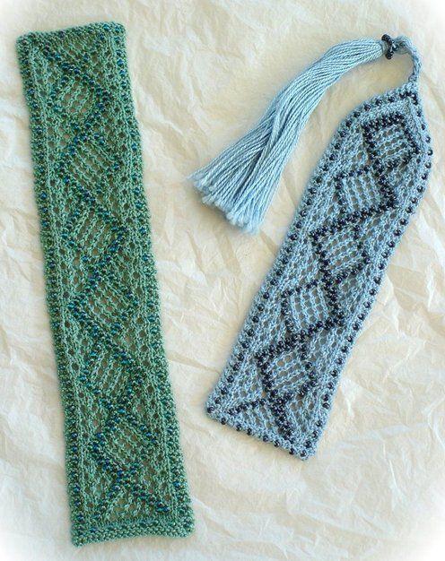 Knitting Bookmarks : Beaded knitted bookmarks pinterest