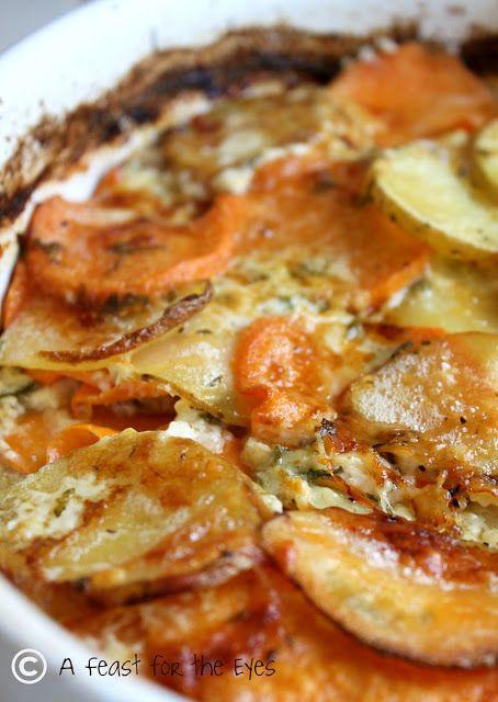 Scalloped Yukon Gold and Sweet Potato Gratin with Fresh Herbs