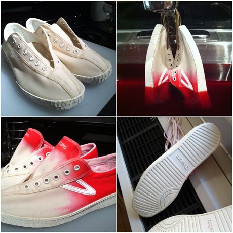 You can add some color to your white shoes by dipping them in some dye