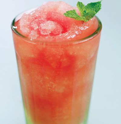 Watermelon and Mint Granita. Or mint and lemon and vodka? Delicious!