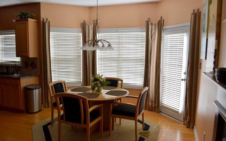 Dining room bay window treatments home ideas pinterest for Bay window curtain ideas for dining room