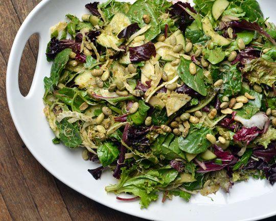 crisp salad with sprouts & miso-lemon dressing via The Kitchn. Yummm ...