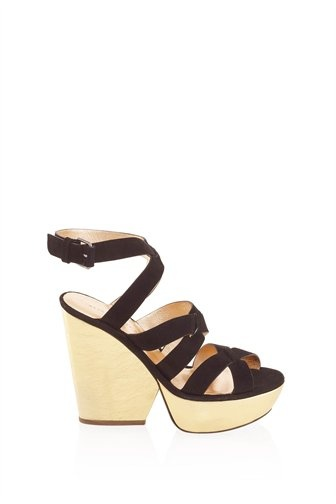 Marc by Marc Jacobs Suede Sandal with Metallic Covered Heel