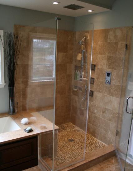 Stand Up Shower Tile And River Rock Bathrooms Pinterest