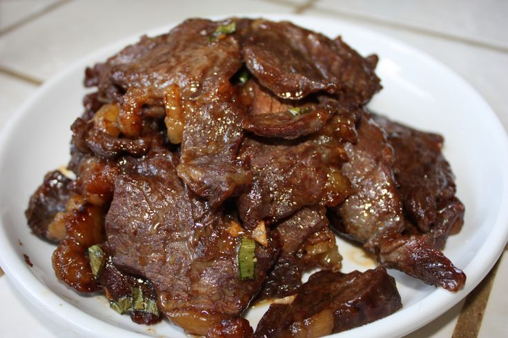 Teriyaki Beef aka Teri-beef. I use equal parts shoyu, sugar, and mirin