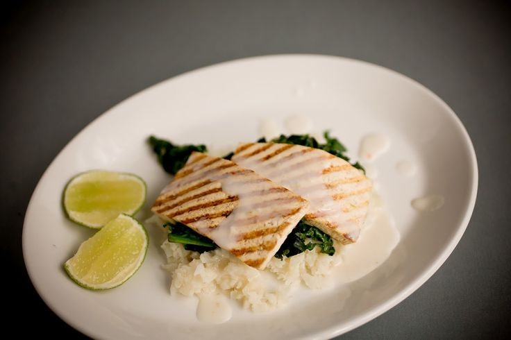 ... Tofu on Coconut Cauliflower and Spinach with Spicy Coconut Sauce