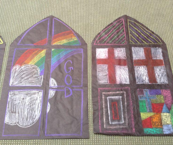 Stain glass window. | VBS Castle theme | Pinterest