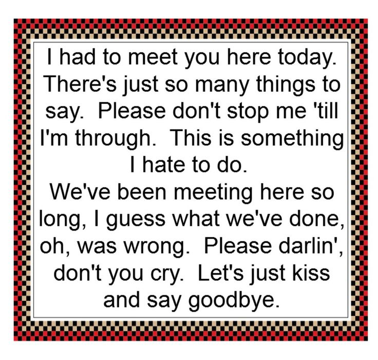 Say goodbye to me lyrics