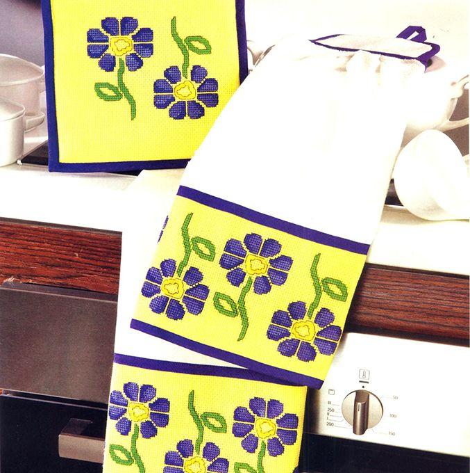 Kit de cozinha floral amarelo, azul e verde #receita #diagrama #esquema #bordado