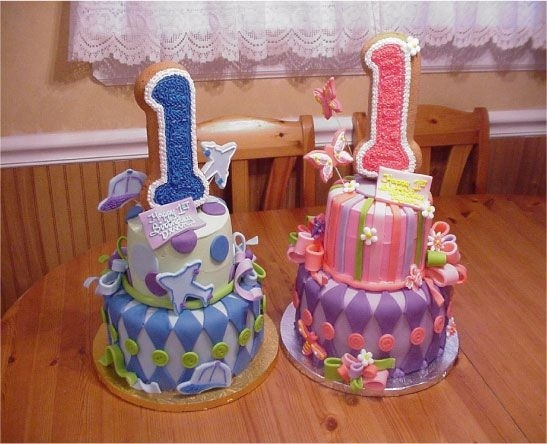 First Birthday Cake For Boy Girl Twins Image Inspiration of Cake