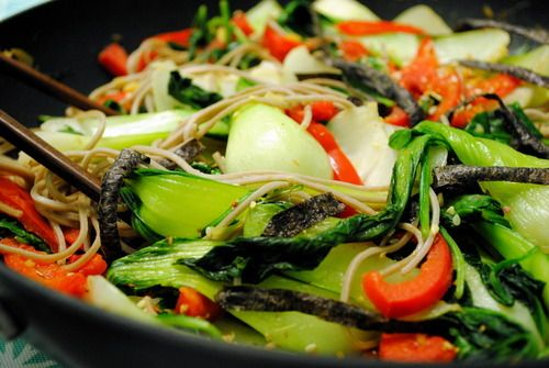 Soba Noodles Tossed with Baby Bok Choy and Red Bell Peppers