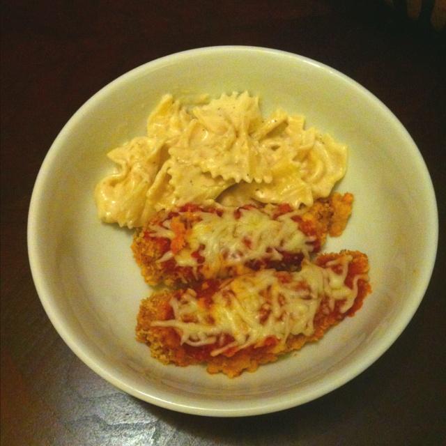 Chicken Parmesan with Bowtie Alfredo | yummy | Pinterest