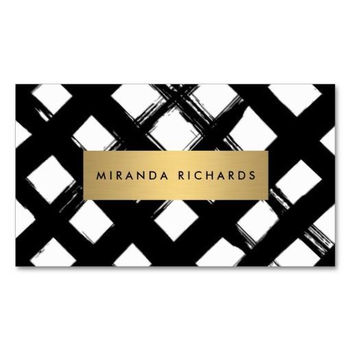 luxe bold brushstrokes with gold bar business card