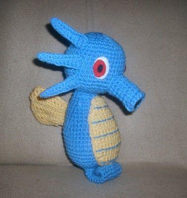 Horsea Pokemon - free pattern Amigurumi-O-Rama Pinterest