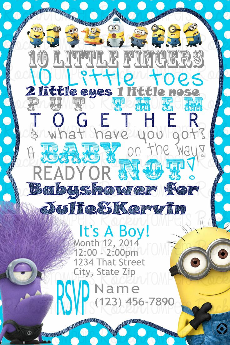 minion baby shower invitation co ed baby shower