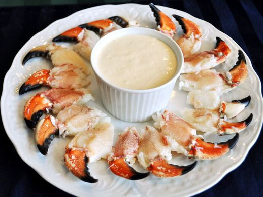 Stone Crab Claws with Mustard Dipping Sauce --cut the mayo in 1/2 and ...