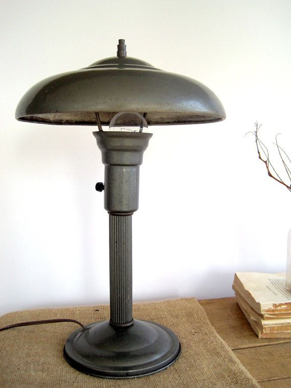 Vintage industrial decor flying saucer table desk lamp for Industrial design table lamps