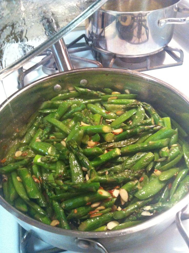 Sugar snap peas and asparagus. Sauté for 10 min in olive oil, salt ...