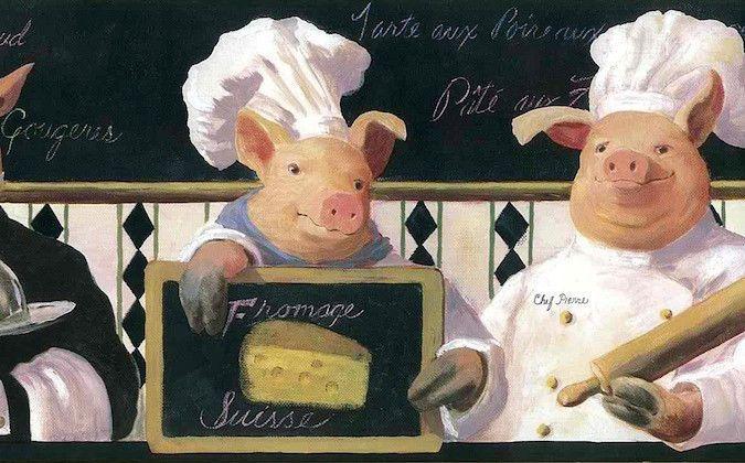 Fotobehang Keuken Achterwand : French Chefs Wallpaper Borders for Kitchen