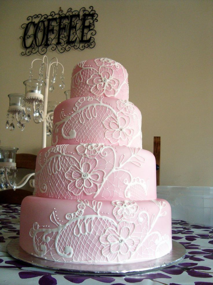 pink lace wedding cake sugarveil lace design using the sugarveil air
