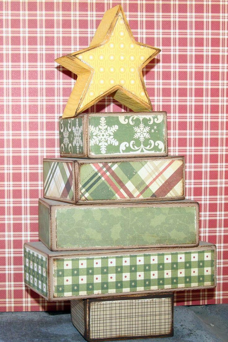 Christmas tree blocks embellish it craft ideas