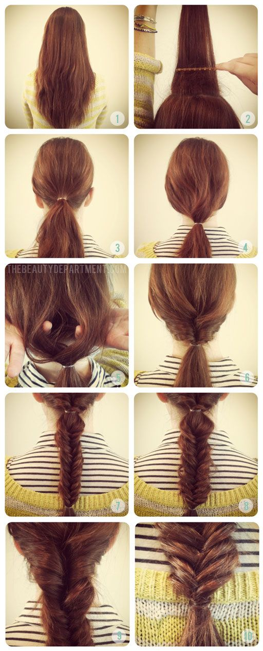 Tutorial: Fishtail braid with a twist http://thebeautydepartment.com/2012/05/braids-braids-and-more-braids/