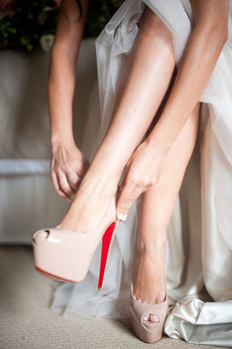 Wedding shoes: Peep Toe Nude Loubotin Pumps