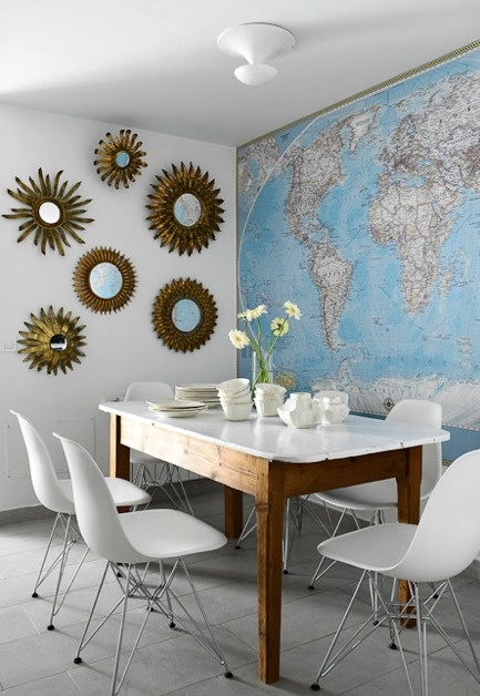 decorating with maps in the dining room
