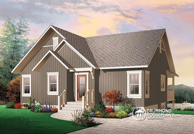 W3941 rustic cottage cathedral ceilings unfinished for Rustic house plans with walkout basement