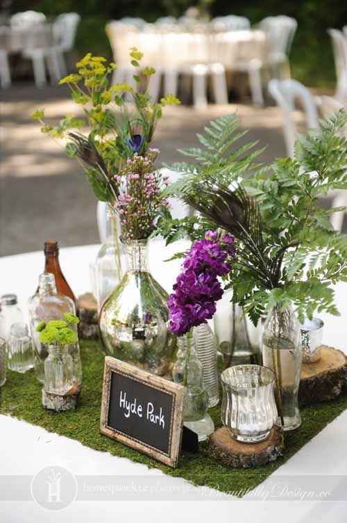 Dining table with centerpieces | Fairy Party Ideas | Pinterest