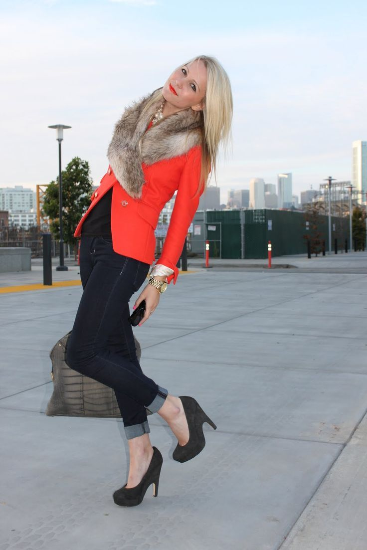 Orange Blazer With Fur