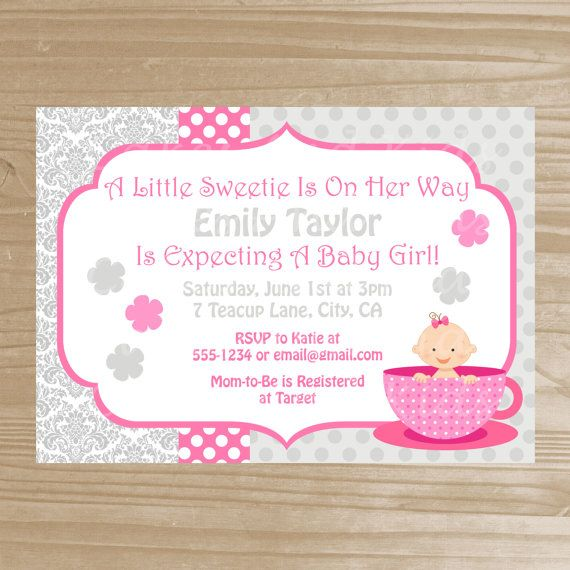 tea party baby shower invitation baby girl teacup invitation prin